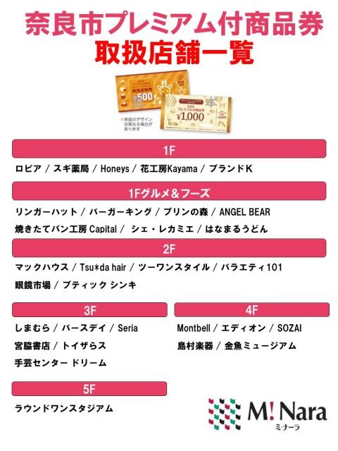 「奈良市プレミアム付商品券」 ミ・ナーラ取扱店舗